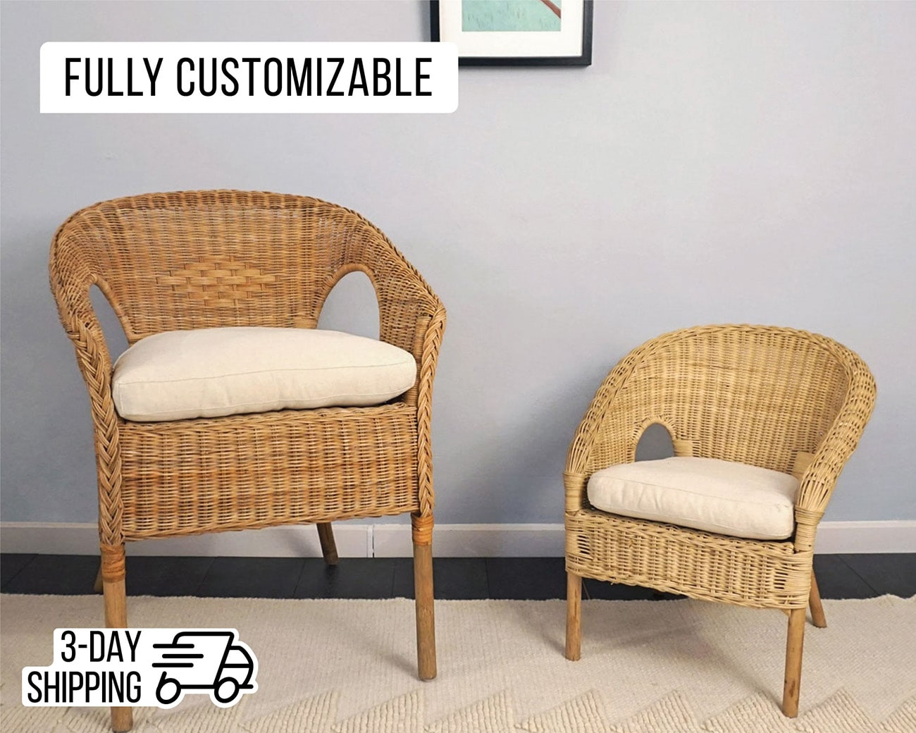 Wool Chair Cushion with Removable Cover